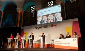 The contenders for Labour's leadership at the Guardian hustings in London on 27 August
