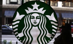 Starbucks logo at one of the company's coffee shops in Chicago