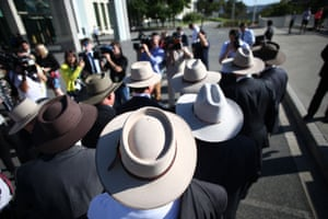 Nationals MPs in Akubras to promote the iconic Australian brand at the entrance to Parliament House on Tuesday.