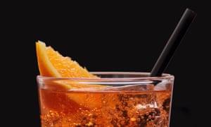 Spritz aperitif, Italian orange cocktail with ice cubes
