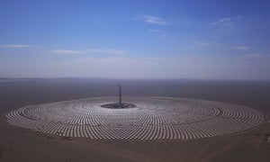 A 100-megawatt molten-salt solar thermal power plant in Dunhuang, China.