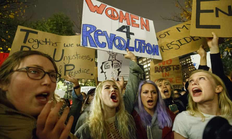 Thousands of anti-Trump protesters march from Union Square to Trump Tower in New York City on 9 November.