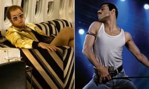 Taron Egerton as Elton John and Rami Malek as Freddie Mercury.