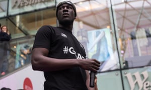 Stormzy performing at Westfield, London.