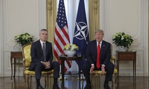 Nato secretary general Jens Stoltenberg (left) with President Trump at Winfield House this morning.