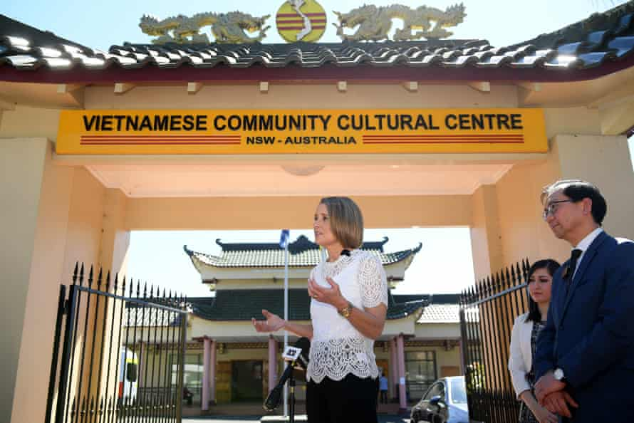 Kristina Keneally speaks to the media at the Vietnamese Community Cultural Centre in Sydney on Saturday about her nomination for preselection as the Labor party's candidate for the seat of Fowler.
