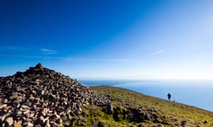 Take a peak … the cairn at the top of Slieve Donard, with Irish sea in distance