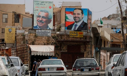 Posters of parliamentary election candidates in the Lebanese port of Sidon