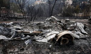 Burnt cars in Neo Voutza, northeast Attica.