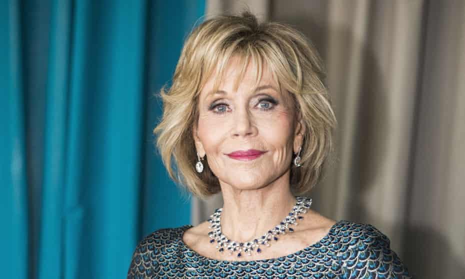 Jane Fonda in a sparkling dress