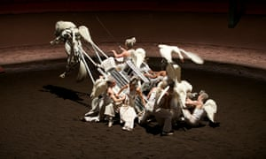 A gravity-defying scene from Bartabas's show On Achève Bien les Anges