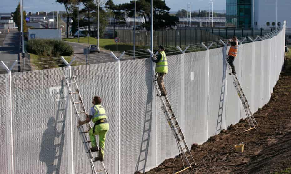 A security fence at the Eurotunnel terminal near Calais.