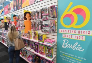 Barbies in a shop
