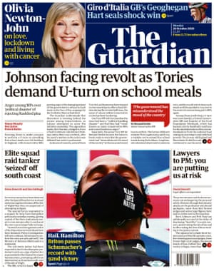 Guardian front page, 26 October