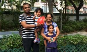 Supun Kellapatha, Nadeeka Dilrukshi and their son and daughter, Dinath and Sethumdi.