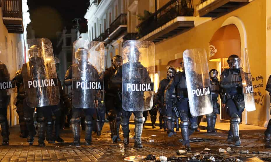 Police in Old San Juan, Puerto Rico in July 2019, during protests against the then governor.