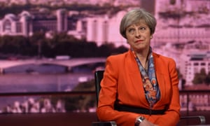 Britain's Prime Minister Theresa May attends the BBC's Marr Show in London, Britain April 30, 2017. Jeff Overs/BBC Handout via REUTERS THIS IMAGE HAS BEEN SUPPLIED BY A THIRD PARTY. FOR EDITORIAL USE ONLY. NO RESALES. NO ARCHIVES. NOT FOR SALE FOR MARKETING OR ADVERTISING CAMPAIGNS