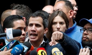 Venezuelan opposition leader and self-proclaimed interim president Juan Guaidó with his wife Fabiana Rosales in Caracas.