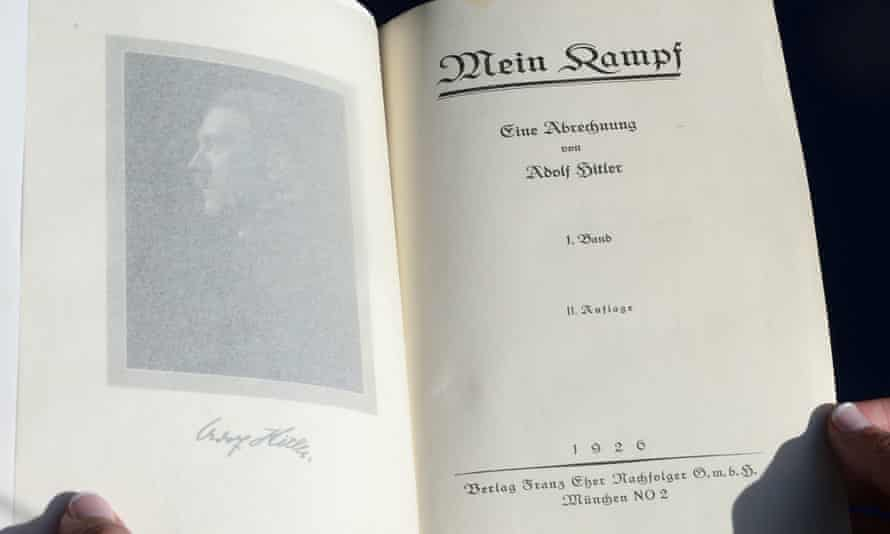 A rare signed copy of the original 'Mein Kampf'. An annotated version is to go on sale in January despite concern from Jewish groups.<br>