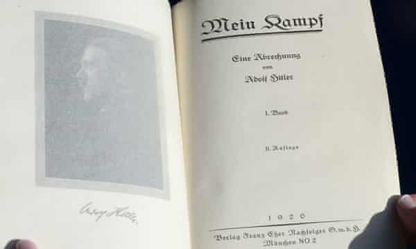 One of two rare copies of Mein Kampf signed by the young Adolf Hitler, which went up for auction in 2014.