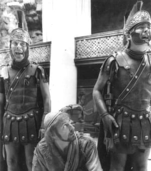 Andrew MacLachlan, left, with Graham Chapman, centre, and Bernard McKenna in Life of Brian, 1979