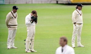 Durham's Chris Scott despairs after dropping Brian Lara on 18 at Edgbaston in 1994.