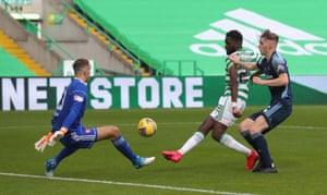 Celtic's Odsonne Edouard scores his hat-trick.