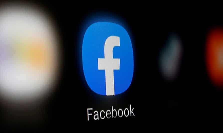 Facebook logo on screen