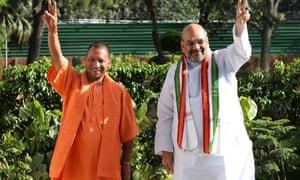 Yogi Adityanath, left, with the party president Amit Shah in Delhi.