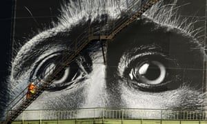 An industrial climber checks a giant ad for the current exhibition 'Wonders of Nature' at the Gasometer in Oberhausen.
