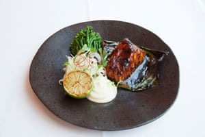 Brasserie of Light's black cod on charred broccoli, with a wasabi mayo