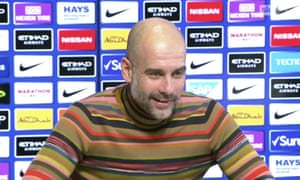 Pep Guardiola, in a colourful jumper, was shocked to hear Benjamin Mendy might be in Hong Kong.
