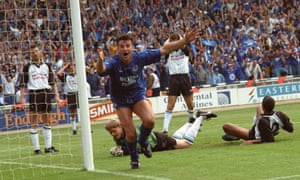 Steve Walsh celebrates after scoring for Leicester against Derby in the First Division play-off final in 1994.