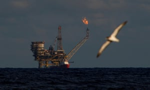 A seagull flies in front of an oil platform in the Bouri oilfield north of the coast of Libya