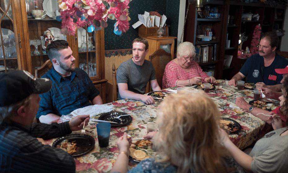 Mark Zuckerberg eats dinner with the Moore family in Newton Falls, Ohio.