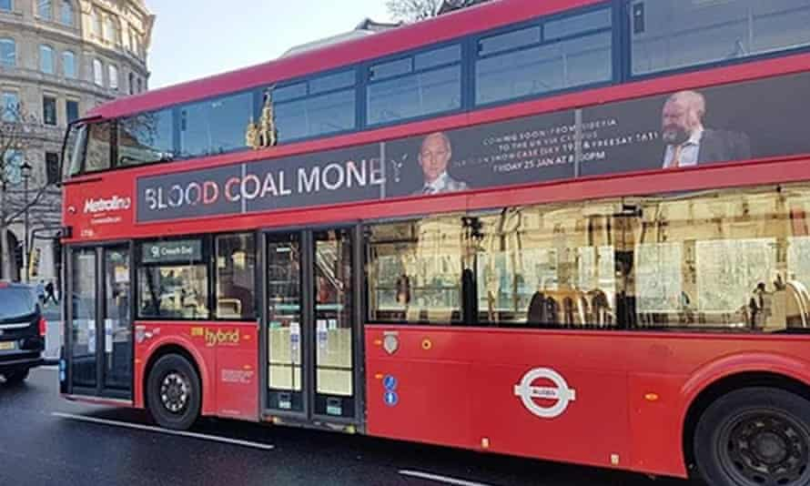 Blood Coal Money poster on London bus