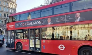 The controversial documentary Blood Coal Money was promoted on a London bus