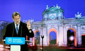 The Spanish prime minister and People's party (PP) candidate, Mariano Rajoy, at the party's first election campaign rally in Madrid.