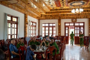 The interior of an ornate restaurant built by prisoners, used by officials.