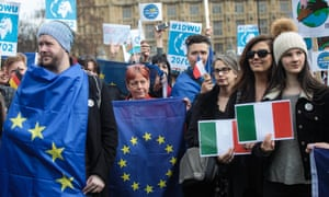 Protesters outside parliament on day of action in support of migrant workers and EU citizens.