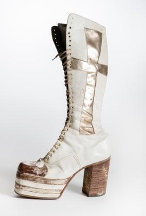 Geezer Butler's boot worn at Cal Jam 1974.