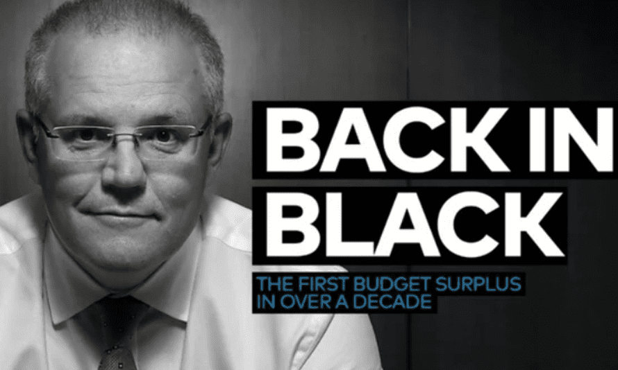 Scott Morrison, a former marketing executive, has faced accusations of unoriginality over his 'Back In Black' budget post