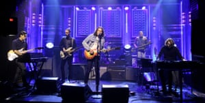The War on Drugs perform on TV, (from left) Anthony LaMarca, David Hartley, Adam Granduciel, Charlie Hall (obscured, on drums), Jon Natchez and Robbie Bennett.