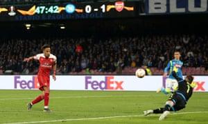 Arsenal's Pierre-Emerick Aubameyang has his shot saved by Napoli goalkeeper Alex Meret.