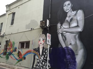 The wall outside of Zigi's Art, Wine and Cheese Bar in Chippendale, Sydney, featuring a large-scale portrait of Kim Kardashian.