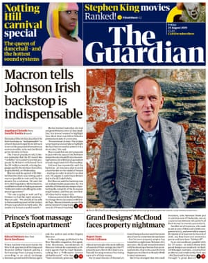 Guardian front page, Friday 23 August 2019