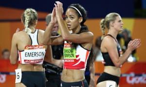 Overall gold medalist Katarina Johnson-Thompson of England applauds the crowd.