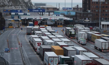 Lorries queueing at Dover in March 2018