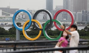 The Olympic Rings are seen at Odaiba Marine Park, Tokyo, Japan, on 17 July