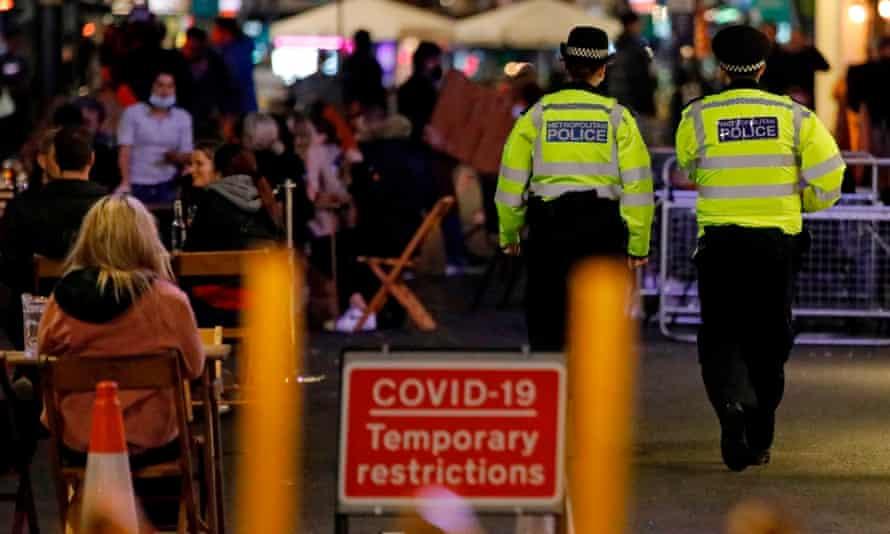 Police patrol in Soho, central London, September 2020
